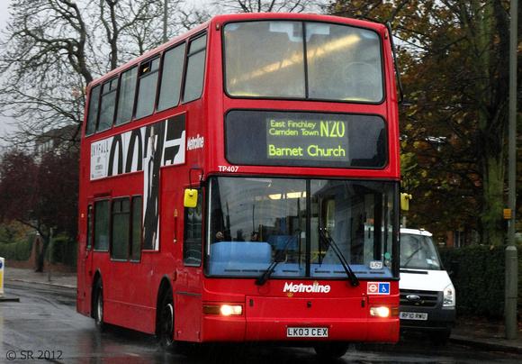 London Bus Routes: Route N20: Barnet Church - Trafalgar Square &emdash; Route N20, Metroline, TP407, LK03CEX, Finchley