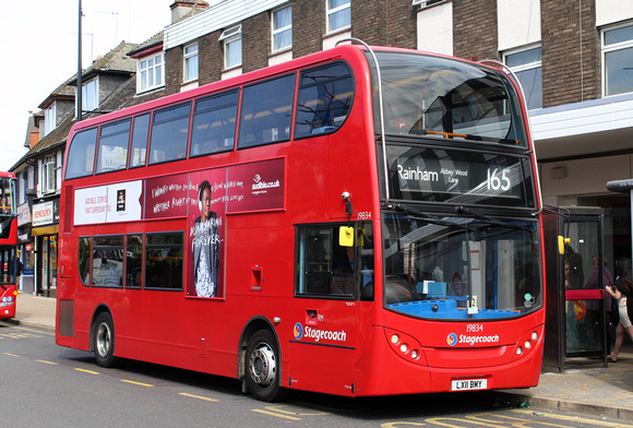 London Bus Routes: Route 165: Rainham, Abbey Wood Lane - Romford, The Brewery &emdash; Route 165, Stagecoach London 19834, LX11BMY, Hornchurch