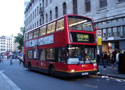 London Bus Routes: Route N89: Erith - Trafalgar Square &emdash; Route N89, London Central, PVL9, V209LGC, Trafalgar Square