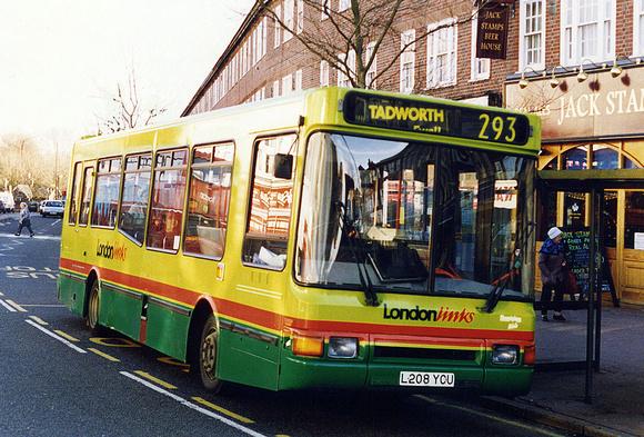 London Bus Routes: Route 293: Epsom Hospital - Morden &emdash; Route 293, London Links, L208YCU, Morden