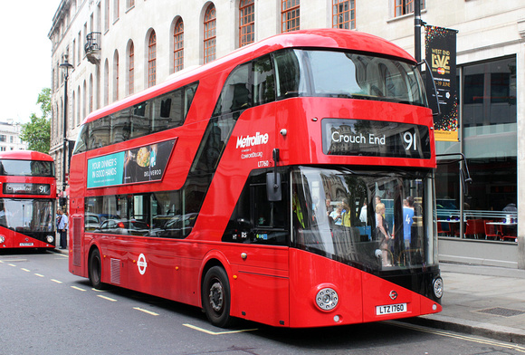 London Bus Routes: Route 91: Crouch End - Trafalgar Square &emdash; Route 91, Metroline, LT760, LTZ1760, Charing Cross Station