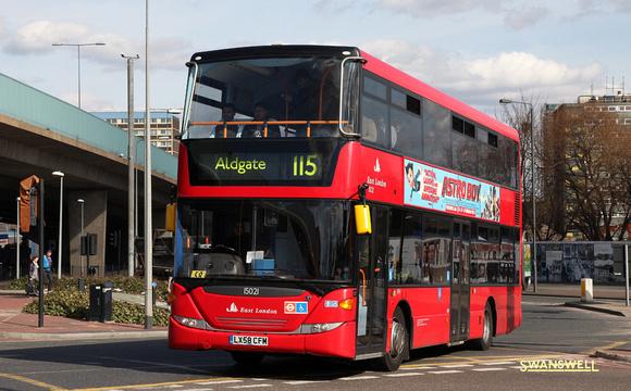 London Bus Routes: Route 115: Aldgate - East Ham, Central Park &emdash; Route 115, East London ELBG 15021, LX58CFM, Canning Town