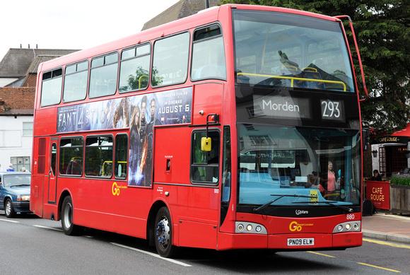 London Bus Routes: Route 293: Epsom Hospital - Morden &emdash; Route 293, Go Ahead London 880, PN09ELW, Epsom