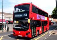 Route 58, Tower Transit, MV38247, LJ17WTX, East Ham