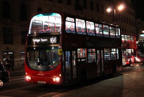 London Bus Routes: Route N343: New Cross Gate - Trafalgar Square &emdash; Route N343, Abellio London 9035, BX55XMJ, Charing Cross