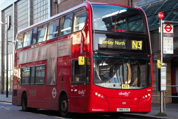 London Bus Routes: Route N3: Bromley North - Trafalgar Square &emdash; Route N3, Abellio London 2425, SN61CYG, Bromley