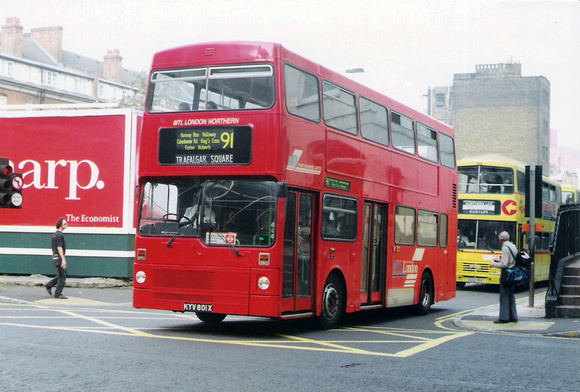 London Bus Routes: Route 91: Crouch End - Trafalgar Square &emdash; Route 91, MTL London, M801, KYV801X