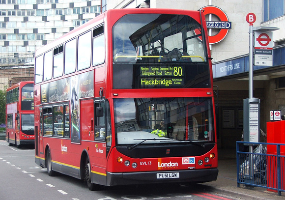 London Bus Routes: Route 80: Belmont Prisons - Hackbridge, Reynold's Close &emdash; Route 80, London General, EVL13, PL51LGW, Morden