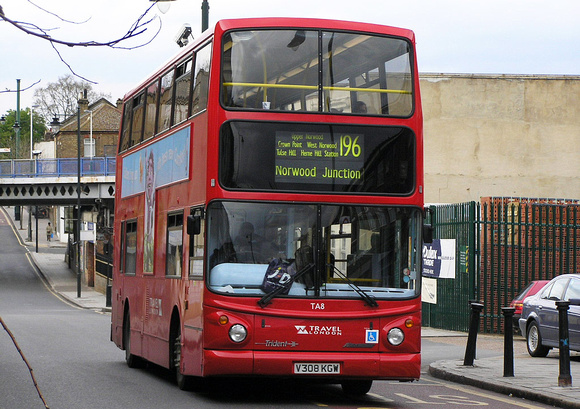 London Bus Routes: Route 196: Elephant & Castle - Norwood Junction &emdash; Route 196, Travel London, TA8, V308KGW, West Norwood