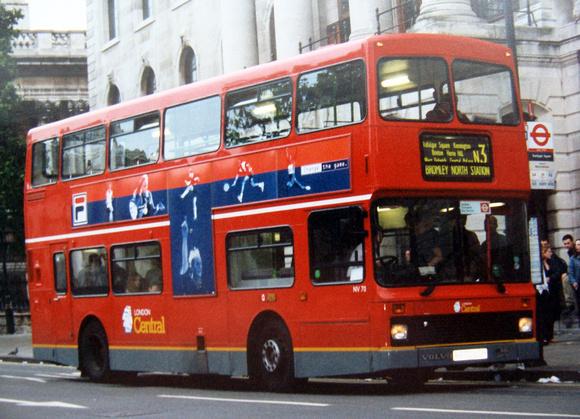 London Bus Routes: Route N3: Bromley North - Trafalgar Square &emdash; Route N3, London Central, NV70, R270LGH, Trafalgar Square