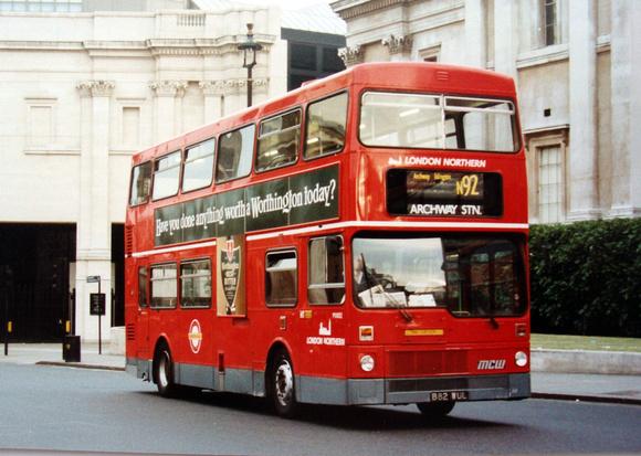 London Bus Routes: Route N92: Trafalgar Square - Oakwood &emdash; Route N92, London Northern, M1082, B82WUL, Trafalgar Square
