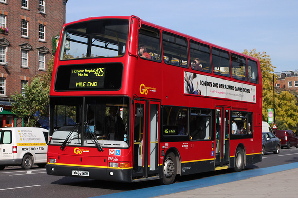 London Bus Routes: Docklands Buses: 1993 - Present &emdash; Route 425, Go Ahead London, PVL66, W466WGH, Mile End