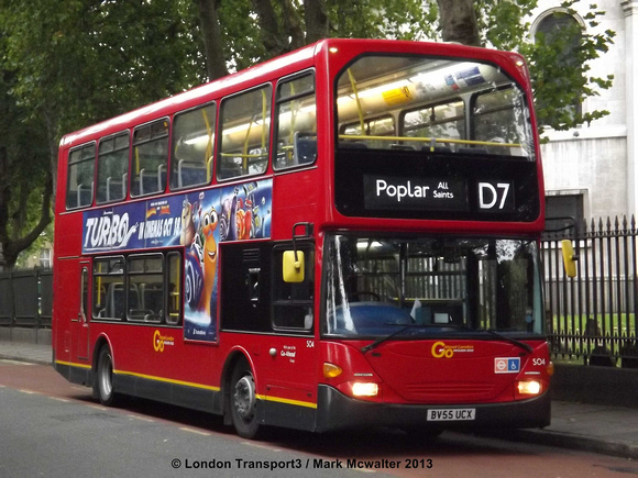 London Bus Routes: Latest Photographs 21st - 31st October &emdash; Route D7, Go Ahead London, SO4, BV55UCX, Poplar