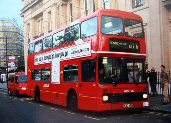 London Bus Routes: Route N176: Oxford Circus - Penge &emdash; Route N176, Arriva London, L550, G550VBB, Trafalgar Square