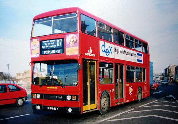 London Bus Routes: Route D7: Mile End - Poplar, All Saints &emdash; Route D7, East London Buses, T653, NUW653Y, Mile End