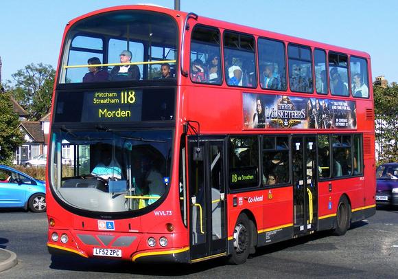 London Bus Routes: Route 118: Brixton - Morden &emdash; Route 118, Go Ahead London, WVL73, LF52ZPC, Mitcham