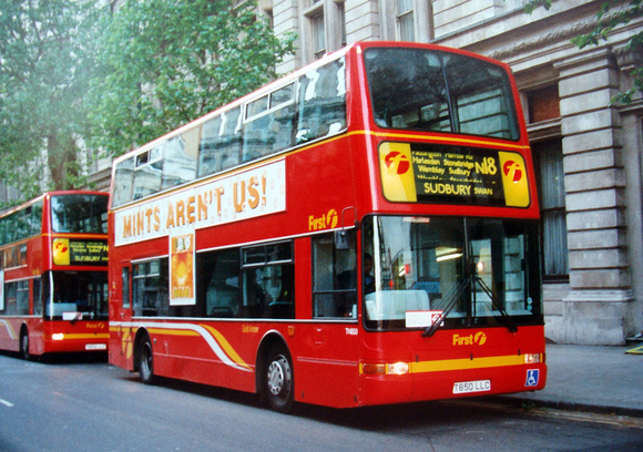 London Bus Routes: Route N18: Harrow Weald - Trafalgar Square &emdash; Route N18, First Gold Arrow, TN850, T850LLC, Northumberland Ave