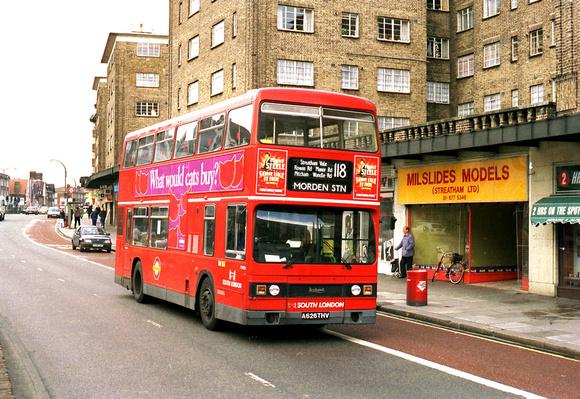 London Bus Routes: Route 118: Brixton - Morden &emdash; Route 118, South London Buses, T1026, A626THV, Streatham