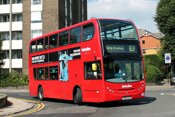 London Bus Routes: Route E1: Ealing Broadway - Greenford Broadway &emdash; Route E1, Metroline, TE1745, SN09CGE, Ealing Broadway