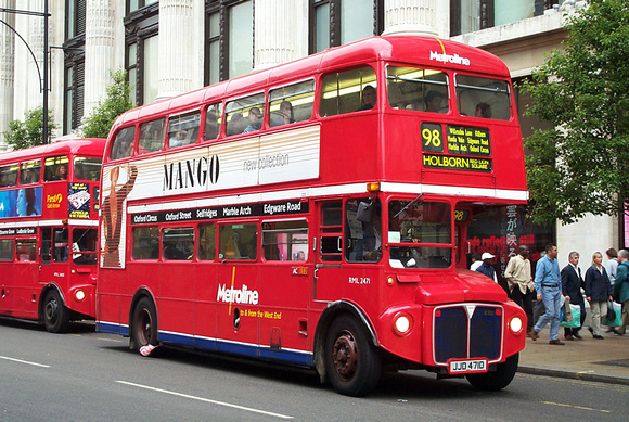 Route 98, Metroline, RML2471, JJD471D, Oxford Street