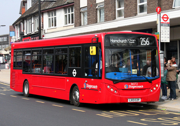 London Bus Routes: Route 256 Hornchurch, St. George's Hospital - Noak Hill &emdash; Route 256, Stagecoach London 36572, LX13CZP, Hornchurch