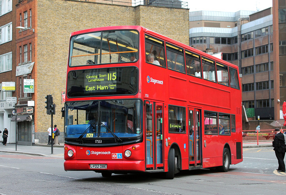 Route 115, Stagecoach London 17553, LY02OBE, Aldgate