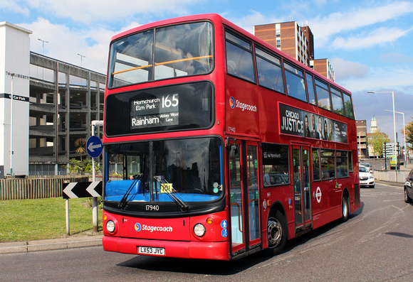 London Bus Routes: Route 165: Rainham, Abbey Wood Lane - Romford, The Brewery &emdash; Route 165, Stagecoach London 17940, LX53JYC, Romford