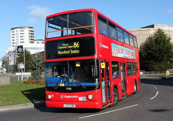 Route 86, Stagecoach London 17986, LX53KBK, Romford