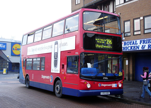 Route 296, Stagecoach London 17990, LX53KBV, Romford
