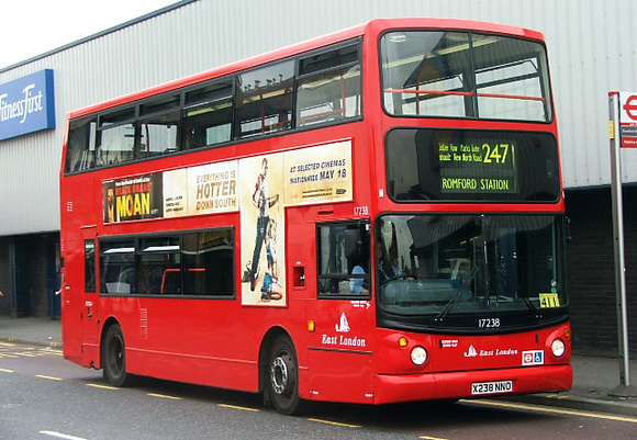 Route 247, East London ELBG 17238, X238NNO, Romford Station