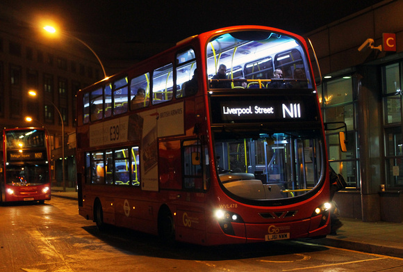 Route N11, Go Ahead London, WVL478, LJ61NWM, Hammersmith
