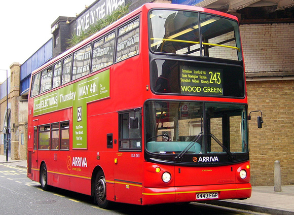 Route 243, Arriva London, DLA243, X443FGP, Waterloo