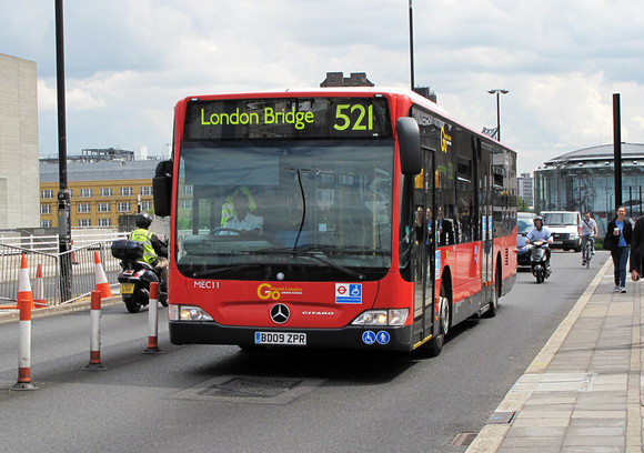 Route 521, Go Ahead London, MEC11, BD09ZPR, Waterloo