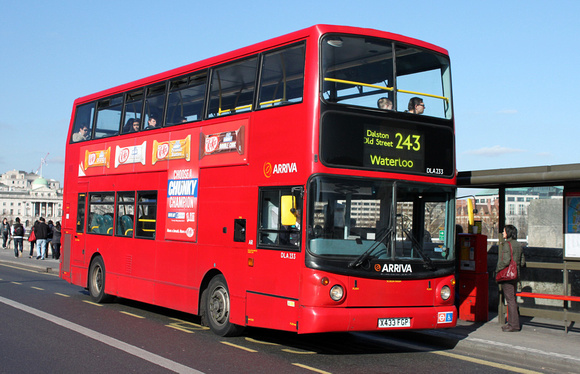 Route 243, Arriva London, DLA233, X433FGP, Waterloo Bridge
