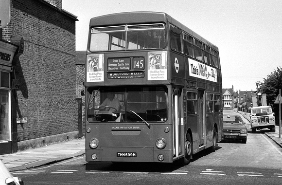 Route 145, London Transport, DMS1599, THM599M, Ilford