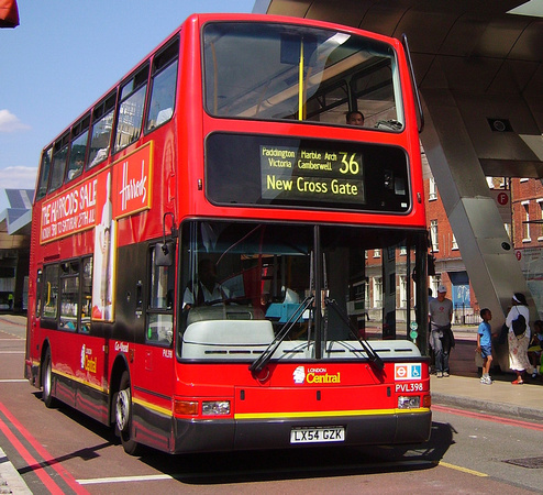 Route 36, London Central, PVL398, LX54GZK, Vauxhall