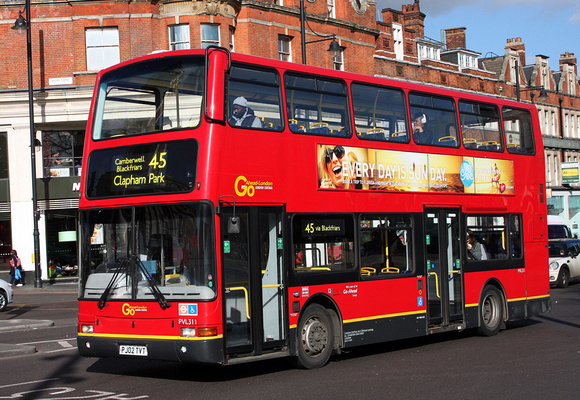 Route 45, Go Ahead London, PVL311, PJ02TVT, Brixton
