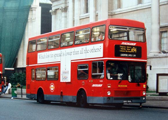London Bus Routes: Route N94: Liverpool Street - Edgware &emdash; Route N94, Metroline, M1193, B193WUL, Trafalgar Square