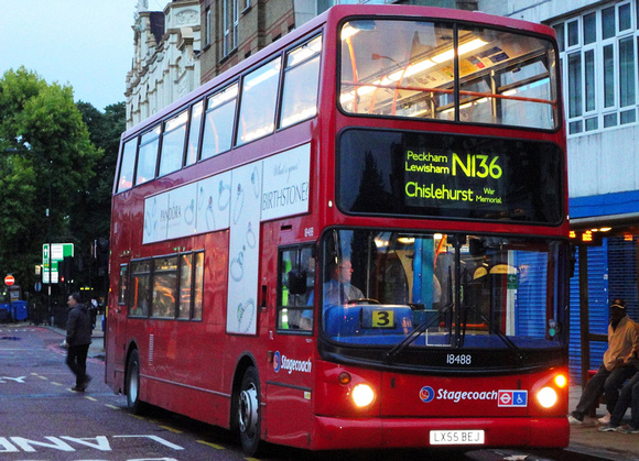 Route N136, Stagecoach London 18488, LX55BEJ, Catford
