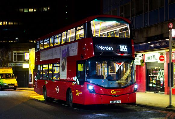 London Bus Routes: Route N155: Morden - Aldwych &emdash; Route N155, Go Ahead London, WHV87, BD65EVU, Morden