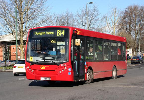London Bus Routes: Route B14:  Bexleyheath, Shopping Centre - Orpington Station &emdash; Route B14, Go Ahead London, SEN42, YX09FMU, St Marys Cray
