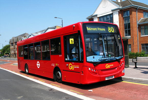 London Bus Routes: Route 80: Belmont Prisons - Hackbridge, Reynold's Close &emdash; Route 80, Go Ahead London, SE171, YX61EKK, Sutton